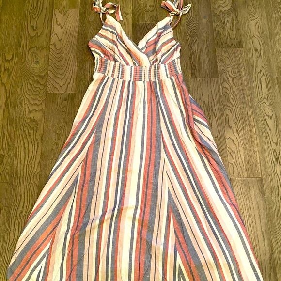 Rebellion Again Striped Spaghetti Strap Maxi Dress